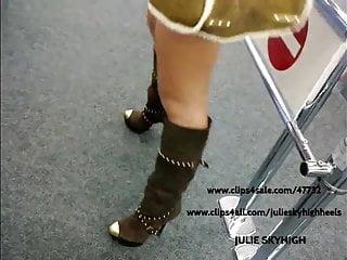 Miniskirt teen sex - Voyeur: sexy girl in public shop in sexyboots miniskirt