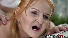 Granny doggystyled like a slut and treated with cum in mouth