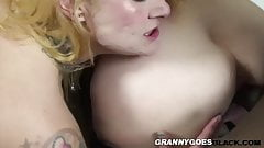 Old gran rides black dick while licking