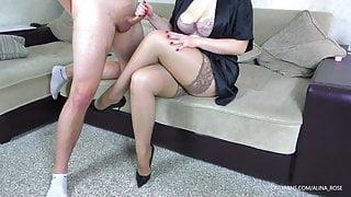 Cum on legs in stockings StepSister