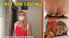 Blonde's first orgasm at porn casting