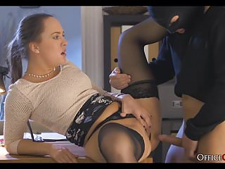 Red haired naked babes - Horny lady boss fucks thief who broke in her office