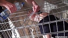 Clair Brooks caged bound dangling on a string whipped vibed