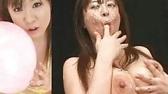 Грудастая Nana Aoyama - буккаке на раздельном экране