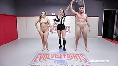 Carmen Valentina vs Lance Hart in mixed nude wrestling fight