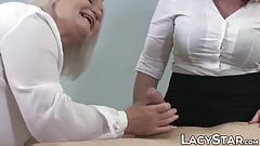 GILF doctor Lacey Starr doggystyle threesome patient fucking
