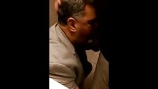 Suited step dad blows in public