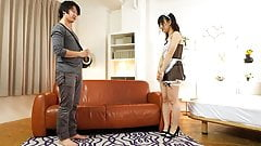 Teasing the Asian maid who has a wet pussy pie