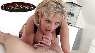 Lady Sonia giving a sensual handjob and blowjob
