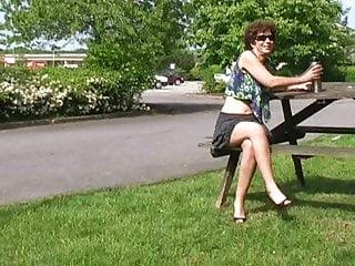 Astride sex Astrid - flashing at carport
