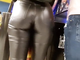Free latex and leather miniskirt pictures Spanish slut with big tight ass and leather leggings