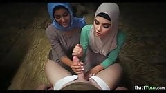 Girls with Hijab suck cock