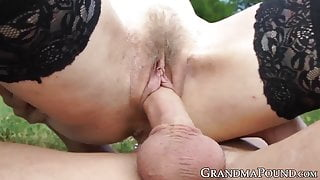 GILF in stockings doggystyled after outdoor blowjob
