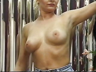 Young spreading nubile pussy - Blonde strips tantalizingly reveals boobies and nubile pussy