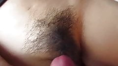 Cum load on hairy pussy