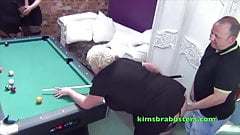 Mature busty British woman gets fucked over a pool table
