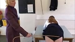 Schoolgirl caned on her navy blue knickers