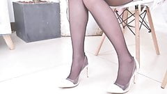 Asian girl shows pantyhose and outfit for a party 3