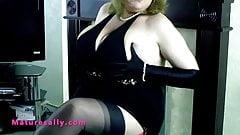 Big tits British mature in a little black dress
