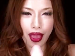 Free lipstick tube blowjob Japanese lipstick babe shows blowjob technique on fake cock