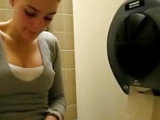Finger public pussy - Playing with my pussy in public washroom