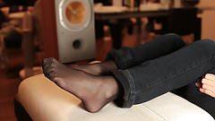 Footjob nylon with my wife