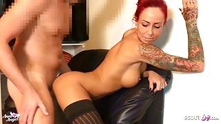 Nylon Overknees Sex and Footjob Finish - German Redhead Teen