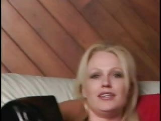 Giant strap on cock Horny stud sucks hot blondes strap-on cock before she fucks him