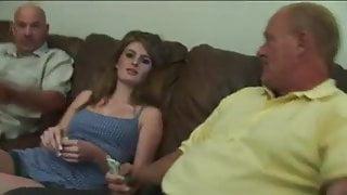 Two old men take advantage of beautiful Faye Reagan
