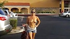 Milf flashes in parking lot