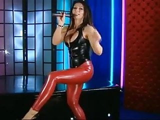 100 latex top - Red latex leggings, black latex top