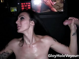 Brunette sucks on big tits Sexy brunette sucks big cock in gloryhole