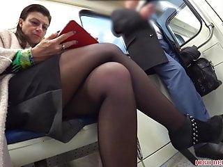 Cross dressing trany upskirt Mature lady crossed legs play in subway seat