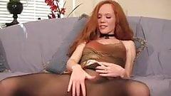 sexy redhead heather carolin nylon pantyhose dirty talking