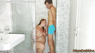 Caught My Pregnant stepsister In The Shower. Helping Her Wash