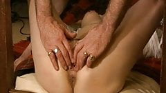Sub tied to table legs Pt9. Clit pumped,fingered and dildoed