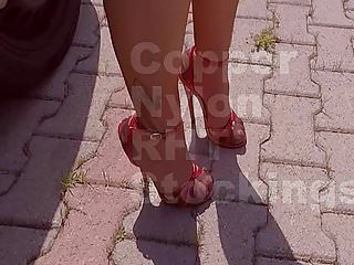 Nude high heeled sandals High heels red sandals and copper nylon stockings