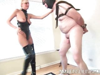 Domination male she Mistress autumn in thigh high black boots dominates male