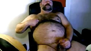 chubby hairy bear jerking his cock
