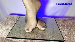 Girlfriends Little Feet in Pantyhose Painted Toes Foot Fetis