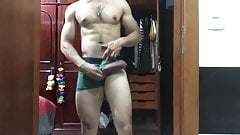 Wanking and playing with his Latin monster