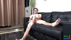 Amateur military stud in glasses tugs his rod