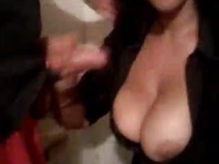 Men see boob at work Boss cum on her boobs at work