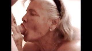 Big grandma sucking dick and get cum in mouth