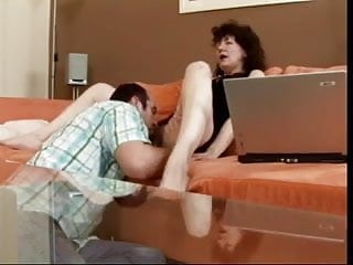 Laptop named eros Super hairy mature being licked while using laptop