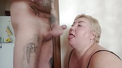 gave a blowjob and got a portion of cum in my mouth and face