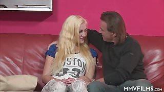 Blonde German Teen sucks grandpa