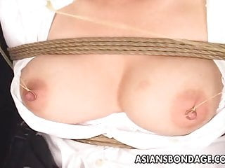 Precision xtra blood ketone test strip - Asian office worker submited to a precise bdsm session
