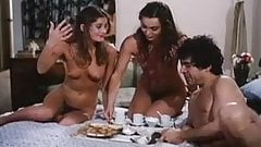 Twin sisters in classic threesome sex