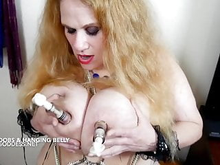 Kore goddess bib tits Blonde with massive tits and belly has her nipples tortured